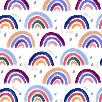 Handgemaltes aquarell-regenbogenmuster-design