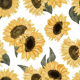 Handgemaltes aquarell-sonnenblumenanordnungs-wiederholungsmuster