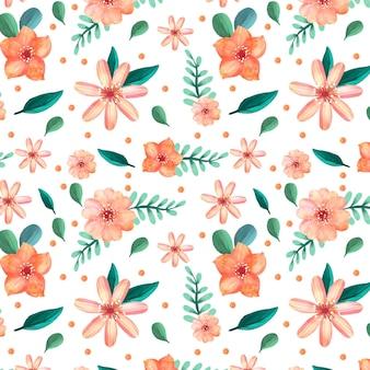 Handgemaltes aquarellblumenmuster in pfirsichfarben