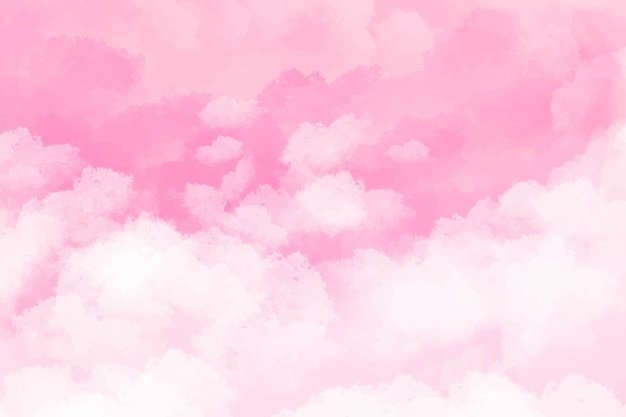 Handgemaltes aquarellhintergrundrosa mit himmel und wolkenform