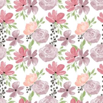 Handgemaltes blumenaquarell-wiederholungsmuster mit rosenpfingstrosen-blütenblattillustration