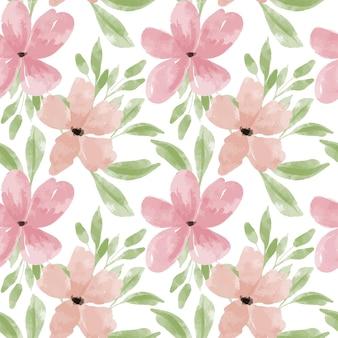 Handgemaltes blumenwiederholungsmuster mit aquarellblütenblume