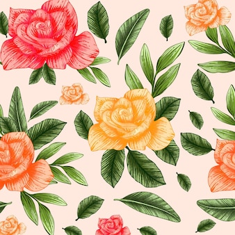 Handgemaltes botanisches aquarellmuster