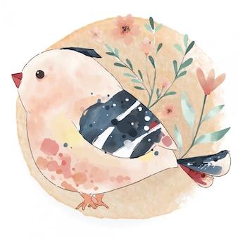 Handgemaltes niedliches vogeleinhorn des aquarells auf einem zweig mit tropischen blumen und blättern