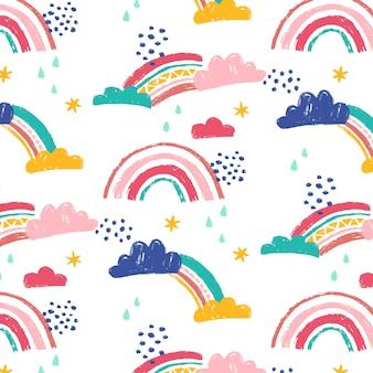 Handgemaltes regenbogenmuster-design
