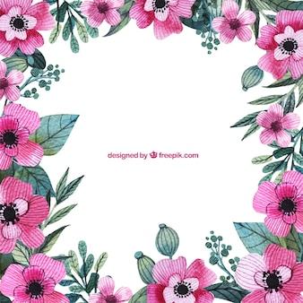 Handgemaltes rosa blüten rahmen