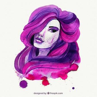 Handgemaltes rosa und lila dame