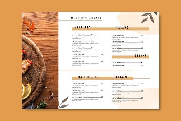 Handgemaltes rustikales restaurantmenü des aquarells