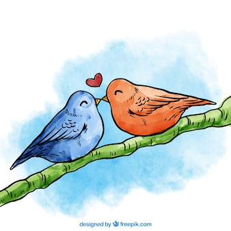 Handgemaltes vogelpaare