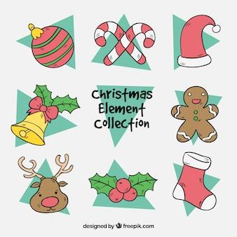Handgepackte packung von weihnachtselementen