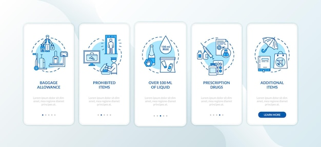 Handgepäck-onboarding-seitenbildschirm der mobilen app mit konzepten. gepäckabfertigung im flughafen walkthrough fünf schritte grafische anweisungen. ui-vektorvorlage mit rgb-farbabbildungen