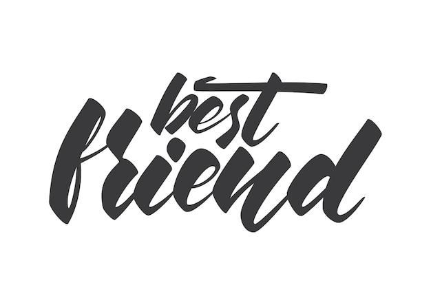 Handgeschriebene beschriftung der besten freund-schablone für den freundschaftstag auf weißem hintergrund