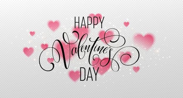Handgeschriebene beschriftung des glücklichen valentinstags für grußkarte