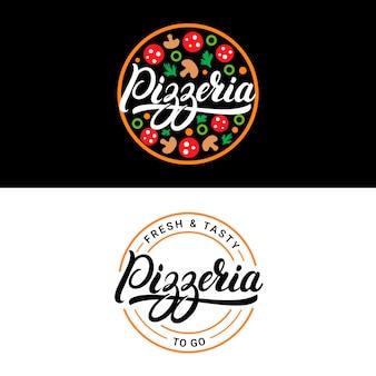 Handgeschriebene beschriftungslogos der pizzeria