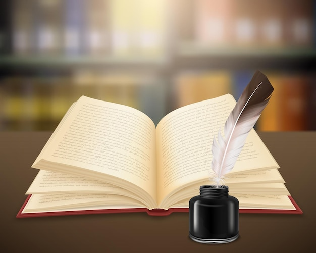 Handgeschriebene literarische arbeit auf seiten des offenen buches mit feder und tintenfass realistisch