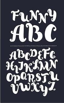 Handgeschriebene moderne kalligraphie-kursivschrift im pinselstil mit schnörkeln kalligraphie-alphabet niedliche ...