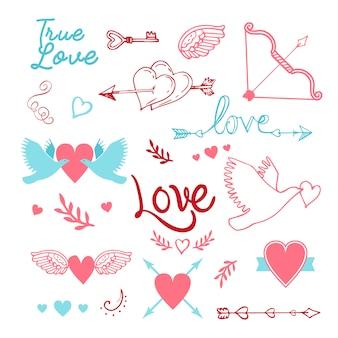Handgeschriebene vintage st. valentinsgrußkartenelemente eingestellt - mit handgemachter kalligraphie