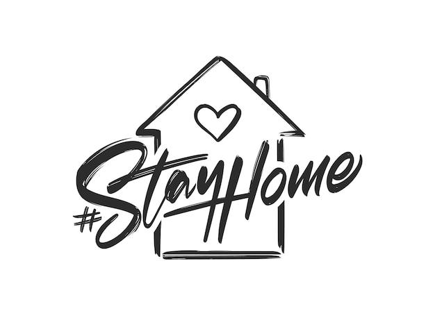 Handgeschriebener hashtag-schriftzug von stay home mit handgezeichnetem haus.