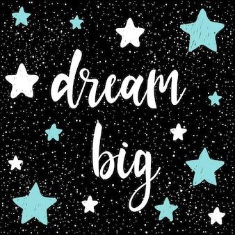Handgeschriebener schriftzug auf schwarz. doodle handgemachter traum großes zitat für design-t-shirt, karte, einladung, buch, poster, banner, broschüren, sammelalbum, album usw