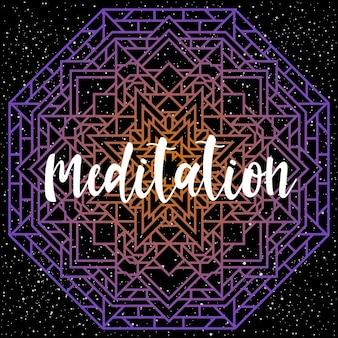 Handgeschriebener schriftzug auf schwarz. doodle handgemachtes meditationszitat und handgezeichnetes mandala für design-t-shirt, weihnachtskarte, einladung, broschüren, sammelalbum, album usw.
