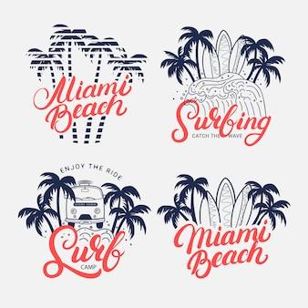 Handgeschriebener schriftzug von miami beach mit palmen und surfbrettern