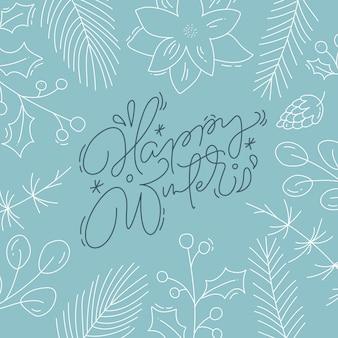 Handgeschriebener text der glücklichen kalligraphischen beschriftung des winters. weihnachtsgrußkarte