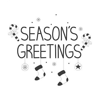 Handgeschriebener text die grüße der saison