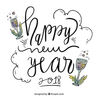 Handgeschriebenes guten rutsch ins neue jahr 2018