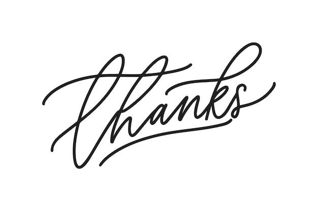 Handgeschriebenes kalligrafisches dankbares wort danke. elegante kursivbeschriftung lokalisiert auf weißem hintergrund. tintenstift verzierte handgeschriebene inschrift mit strudeln. dekorative vektorillustration.