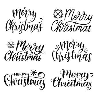 Handgeschriebenes kalligraphieset für frohe weihnachten. sammlung von krippen- und neujahrsbeschriftungen.