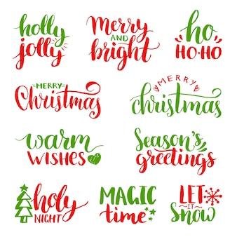 Handgeschriebenes weihnachts- und neujahrskalligraphieset. frohe feiertage, holly jolly usw. schriftzug