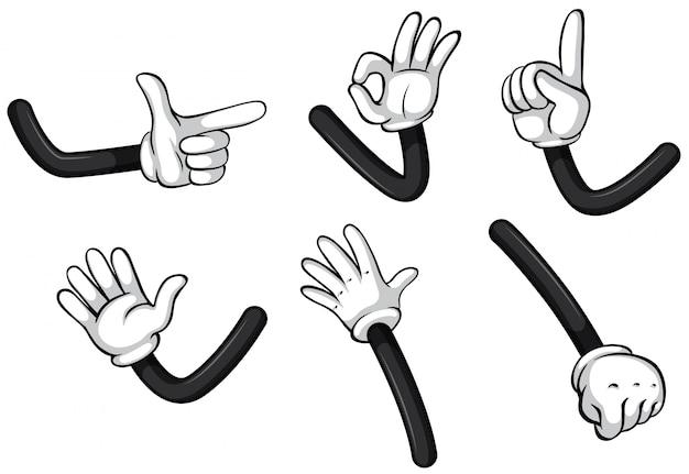 Handgesten auf weißem hintergrund