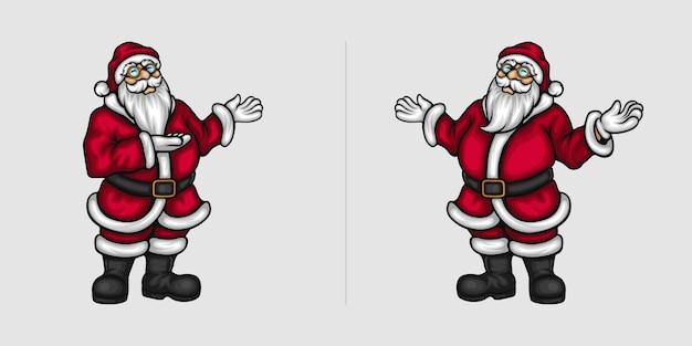 Handgesten des weihnachtsmanns für weihnachtswerbung