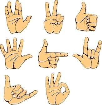 Handgesten und gebärdensprache-icon-set isolierte bunte illustration der menschlichen hände des vektors
