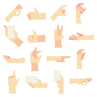 Handgesten. zeigende handgeste, frauenhände und halten in handvektor-karikaturillustrationssatz