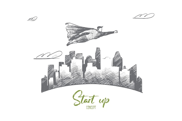 Handgezeichnet start-up-konzeptskizze. geschäftsmann, der am anfang seines projekts steht und sich auf seinen erfolg freut