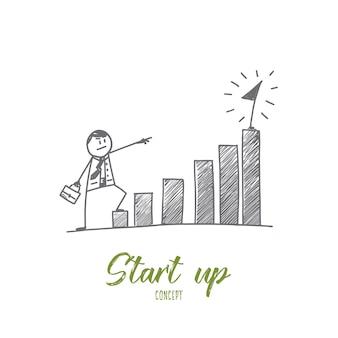 Handgezeichnet start-up-konzeptskizze