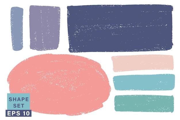 Handgezeichnet verschiedene geometrische formen gesetzt. bunte künstlerische hand gezeichnet