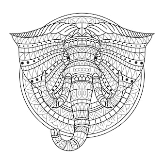 Handgezeichnet vom elefantenkopf im zentangle-stil