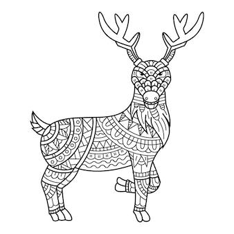 Handgezeichnet von hirschen im zentangle-stil