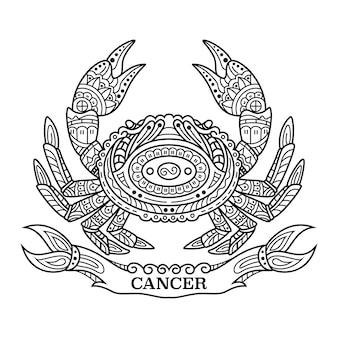 Handgezeichnet von krebs im zentangle-stil