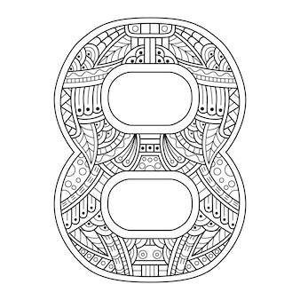 Handgezeichnet von nummer acht im zentangle-stil