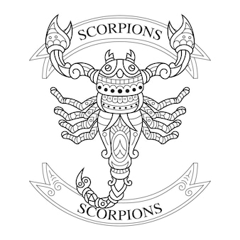 Handgezeichnet von skorpionen im zentangle-stil