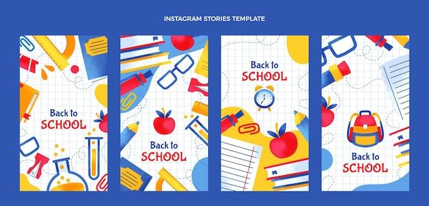 Handgezeichnet zurück in die instagram-geschichtensammlung der schule Premium Vektoren