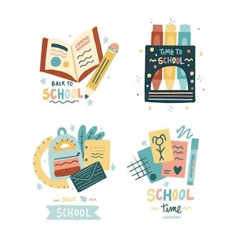 Handgezeichnet zurück zur sammlung von schuletiketten