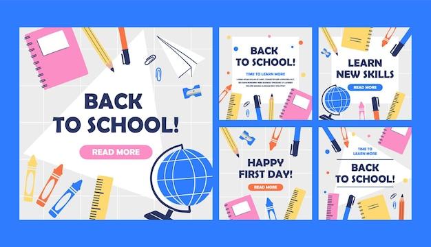 Handgezeichnet zurück zur schule instagram posts sammlung Premium Vektoren