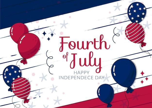 Handgezeichnete 4. juli - unabhängigkeitstag ballons hintergrund