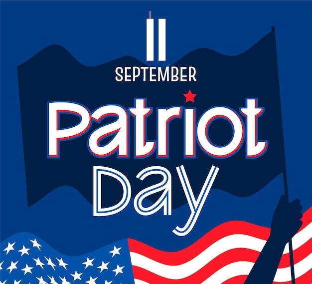 Handgezeichnete 9.11 patriot day schriftzug
