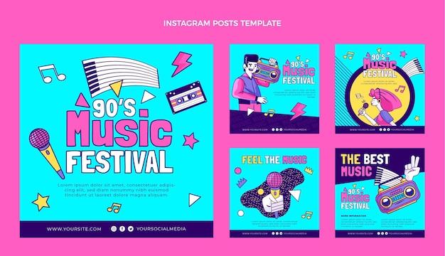 Handgezeichnete 90er jahre nostalgisches musikfestival ig post