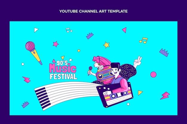 Handgezeichnete 90er jahre nostalgisches musikfestival youtube-kanalkunst